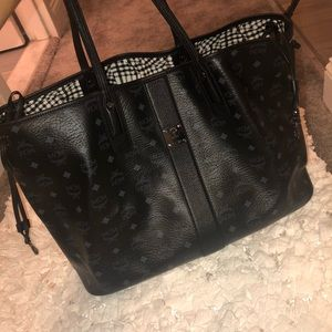 Authentic Black reversible MCM large tote bag